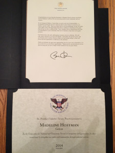 Presidential Service Award and Letter from President Obama
